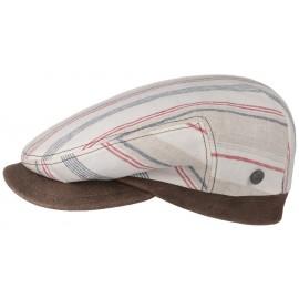 Schirmmütze Leinencap Schiebermütze Finzi Flatcap Lederschirm